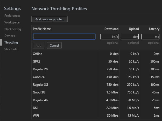 emulator bandwidth throttling