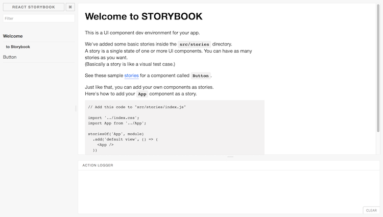 React Storybook Default User interface