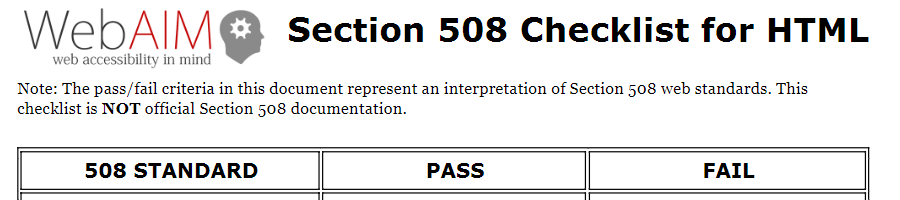 WebAIM Section 508 Checklist