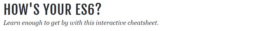 ES6 Cheatsheet