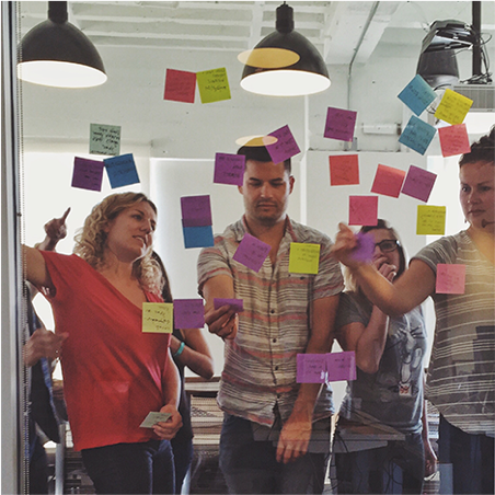 Yes, these are actually some of our good looking employees putting post-it notes up in our office. How else would you rebrand?