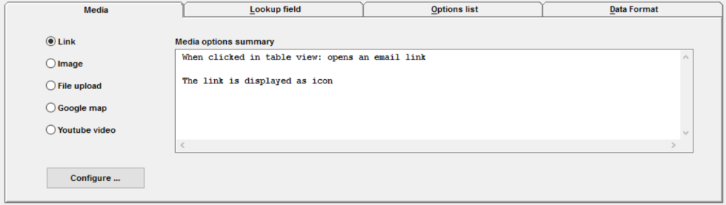 user table with email