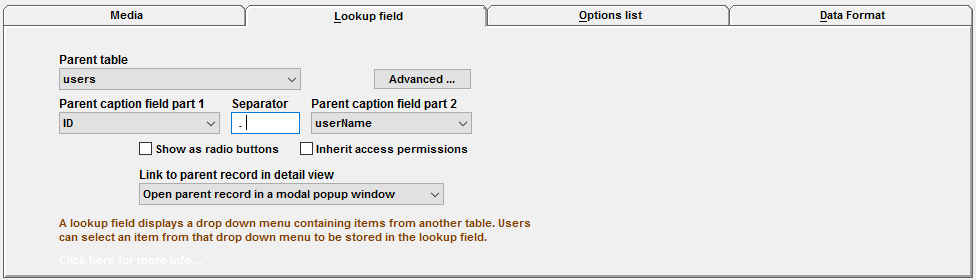 user lookup field