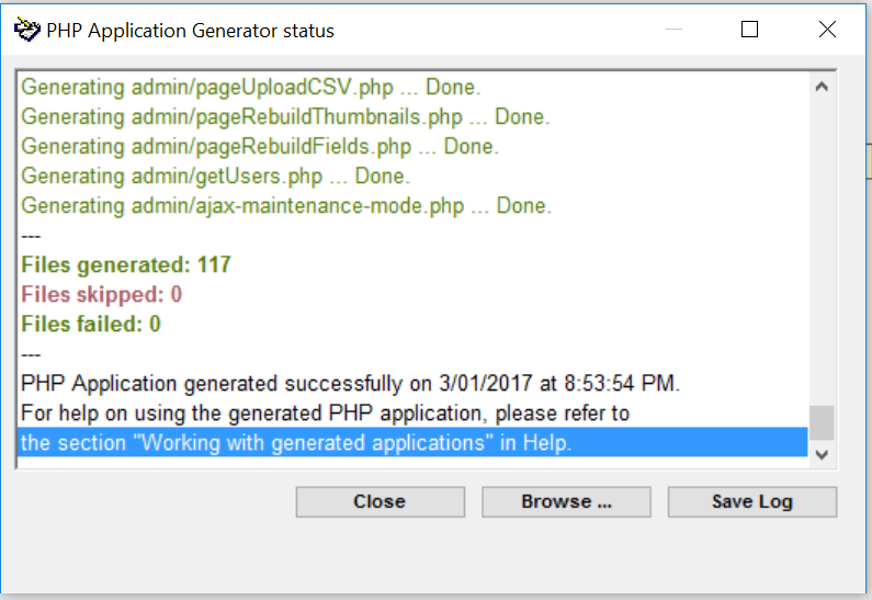 PHP App Generator output