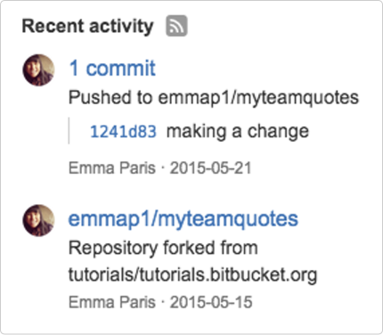 Bitbucket activity stream