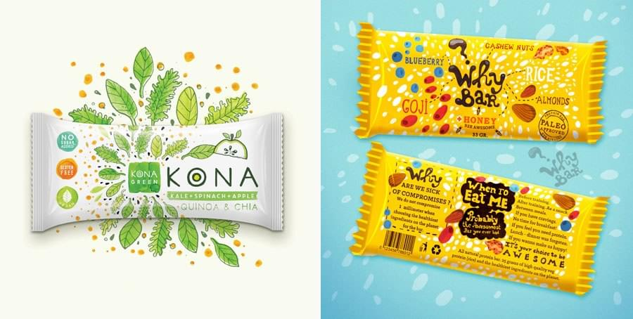 Packaging for KONA and Why Bar