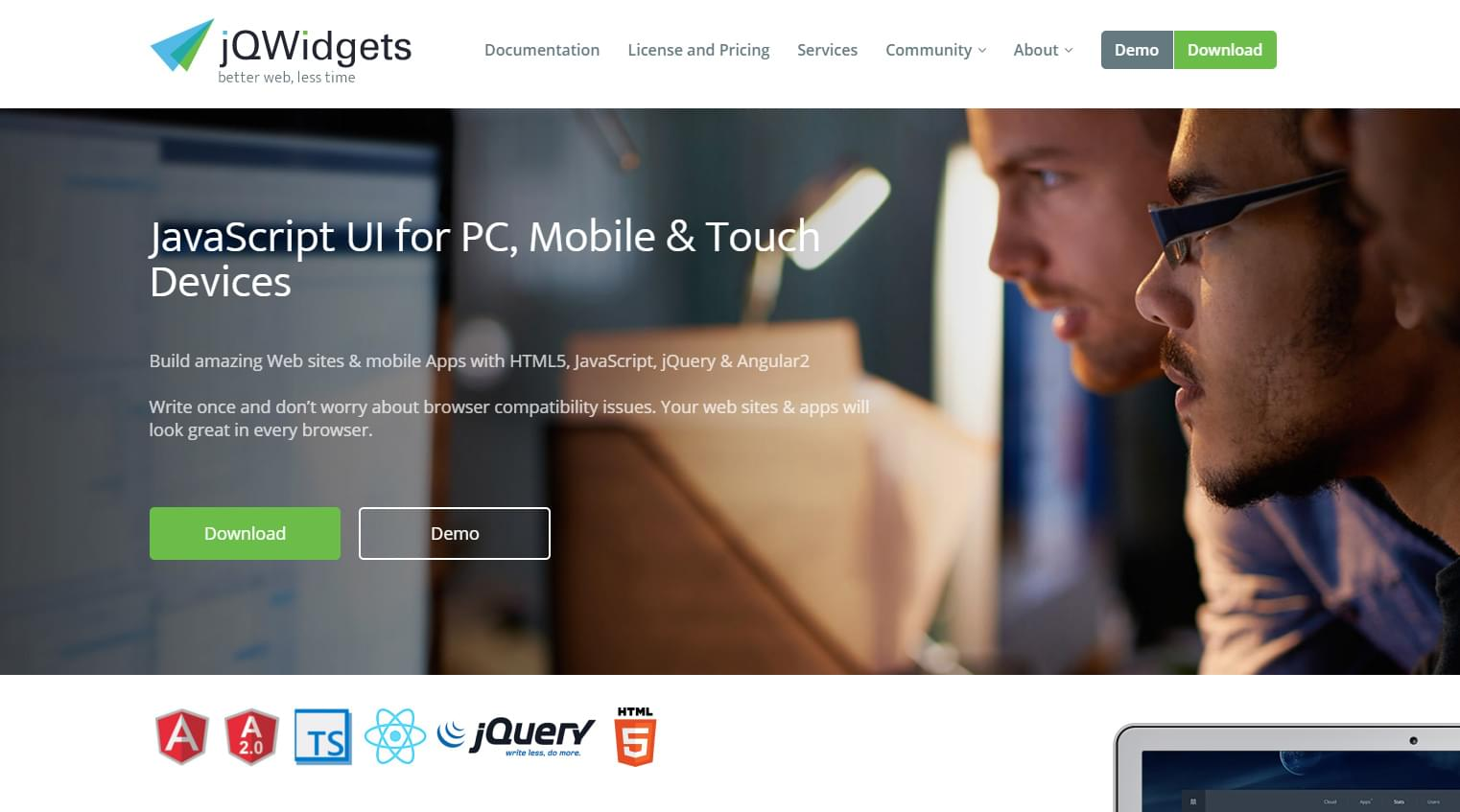 JQwidgets homepage intro image