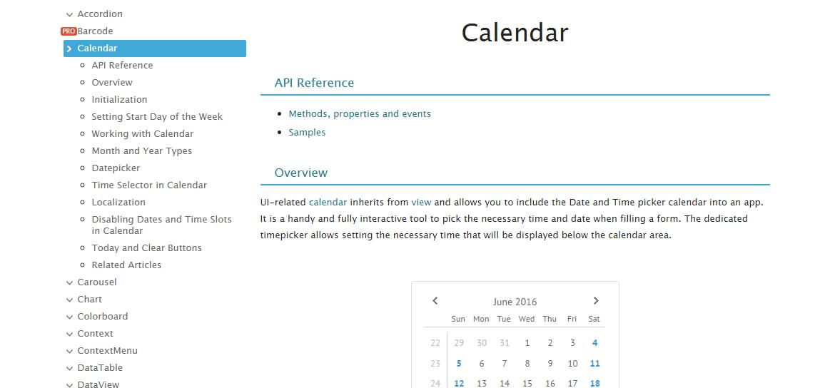 API documentation for the Webix Calendar control