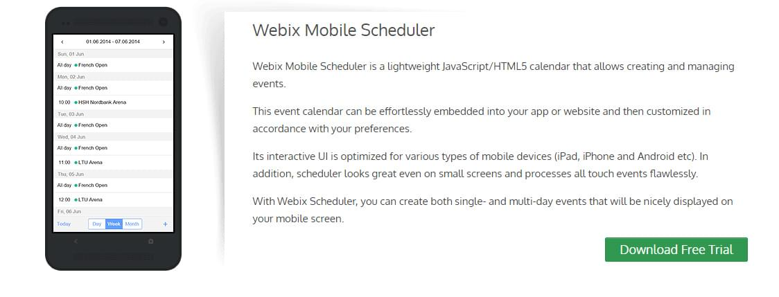 Calendar screenshot for Webix