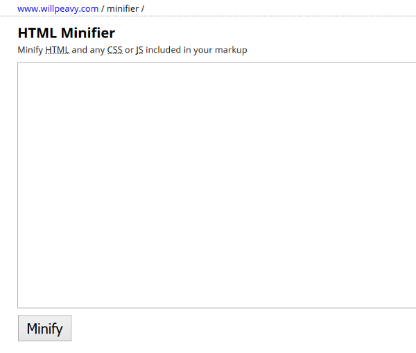 HTML minification tools: Will Peavy HTML Minifier