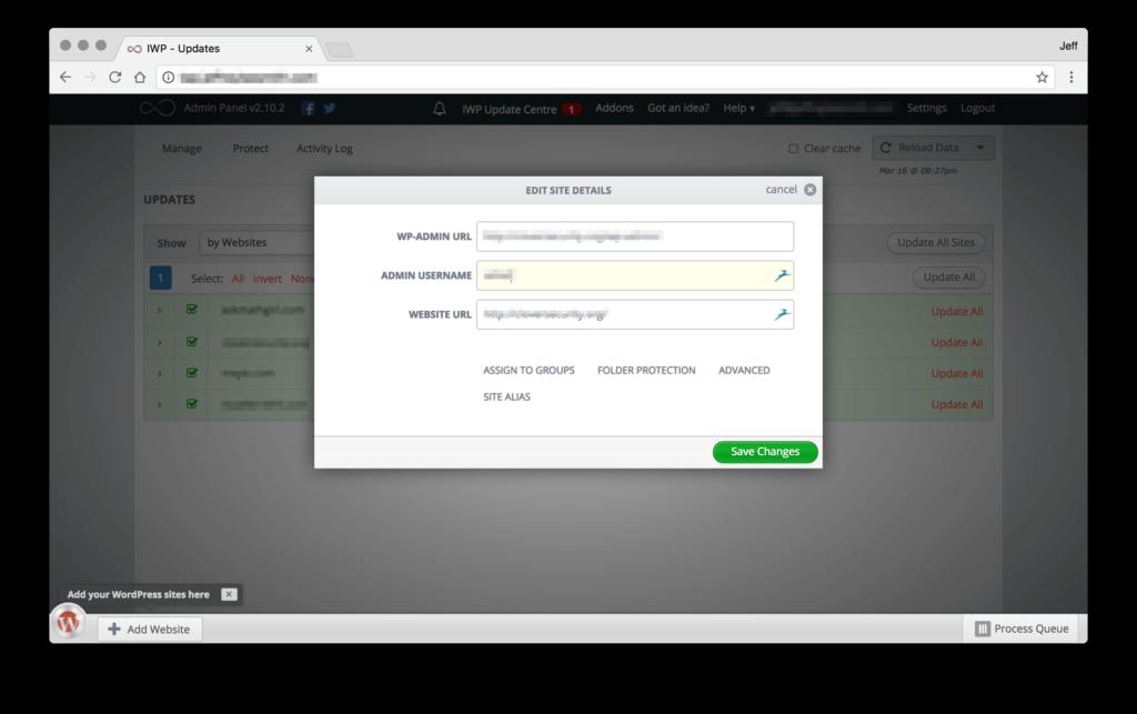 InfiniteWP Edit Site Details