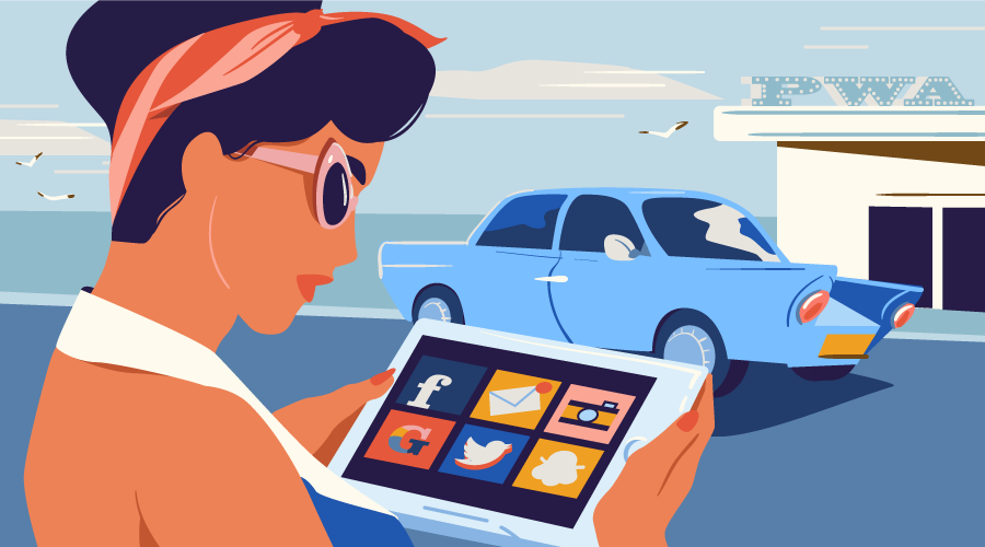 Woman in a 1950s, retro scene looking at a tablet with Progressive Web App icons