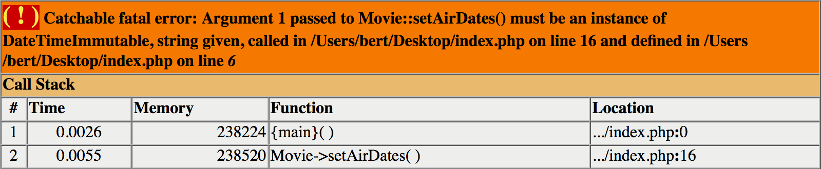 Catchable fatal error: Argument 1 passed to Movie::setAirDates() must be an instance of DateTimeImmutable, string given.
