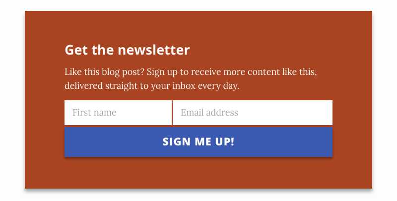 Jekyll Newsletter sign-up widget in action