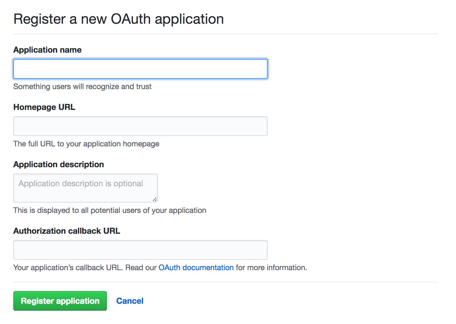 Github app creation page
