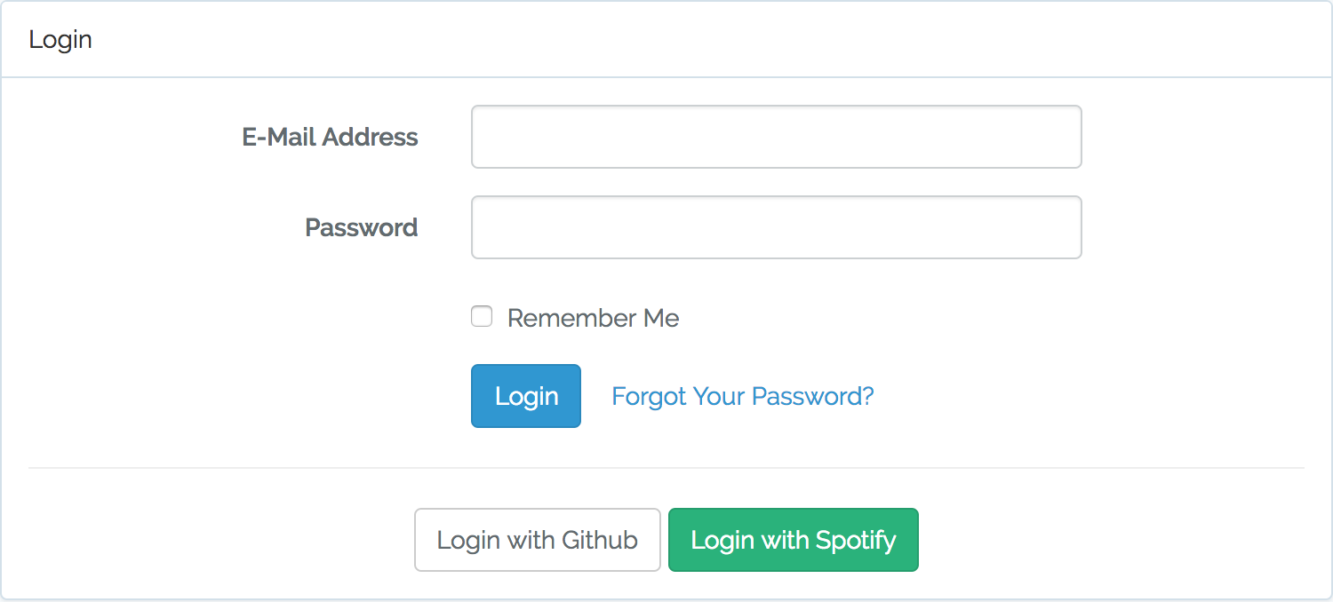 Login page with Spotify link