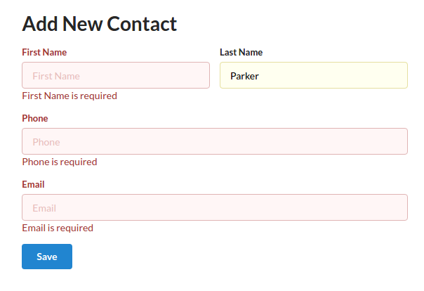 New contact form showing validation errors
