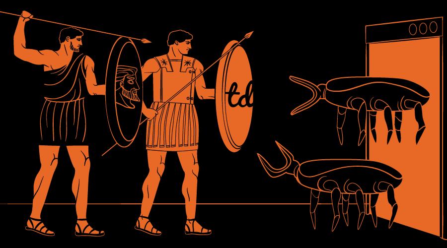 Two Greek warriors with shields battle bugs