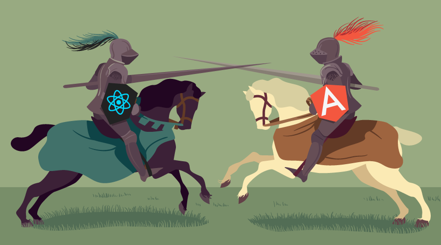 Two knights jousting, with React and Angular logos on their shields