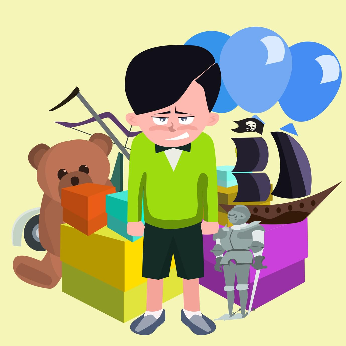 A spoiled child with many toys