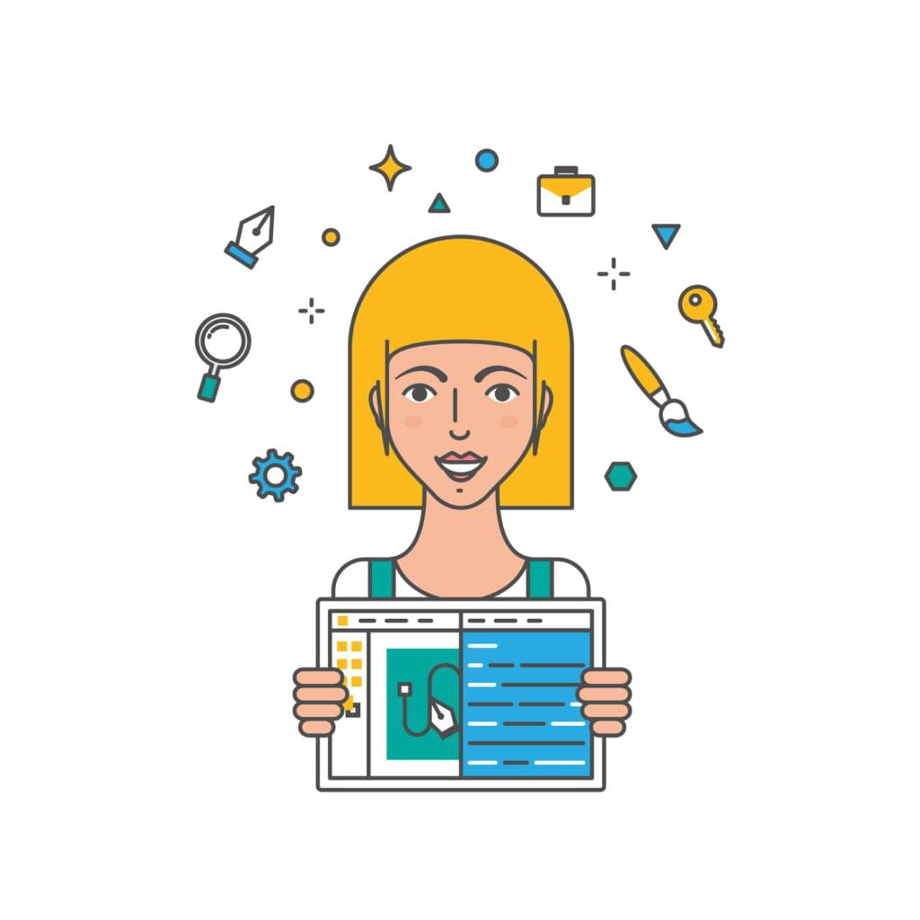 Illustration of a female web designer