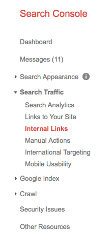 Google Search Console download internal links