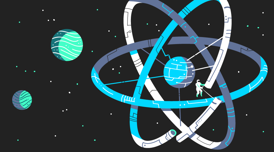 An astronaut constructing a space colony in the shape of the React logo