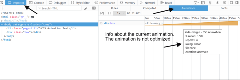 Animation panel inside the Inspector tool with info about the current animation.