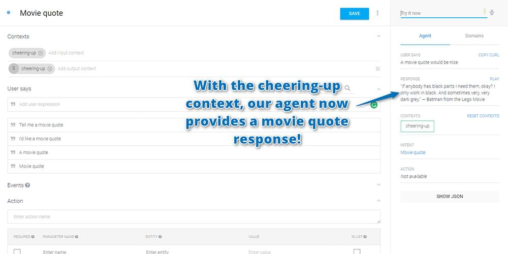 Your movie quote intent in action