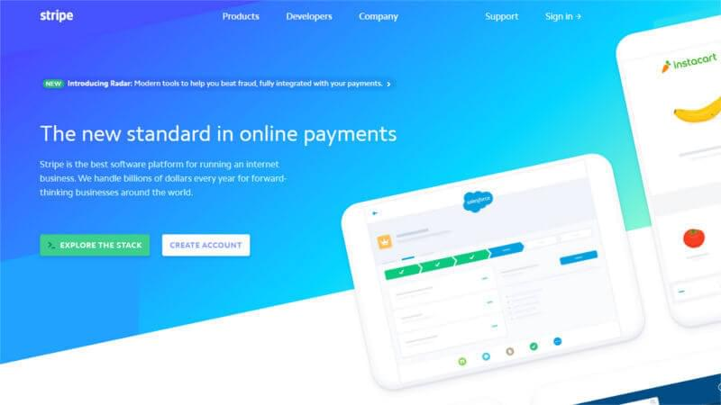 Stripe website banner