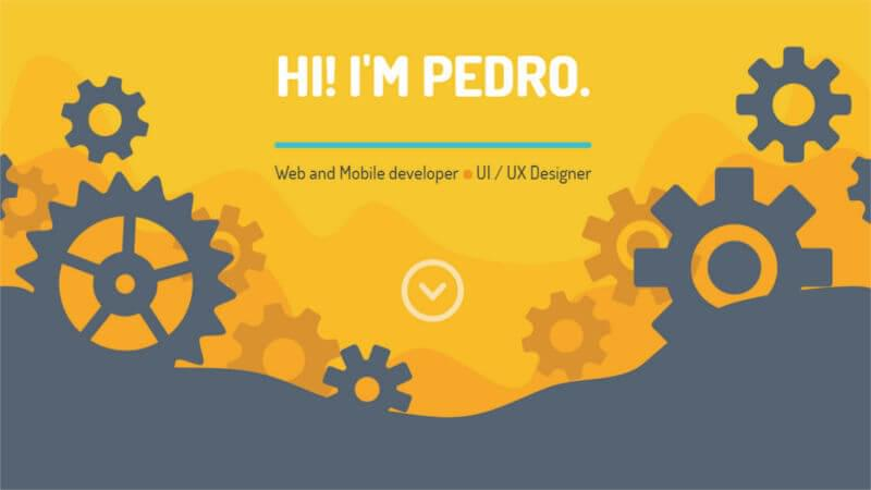 UI design on Pedro Landaverde's website