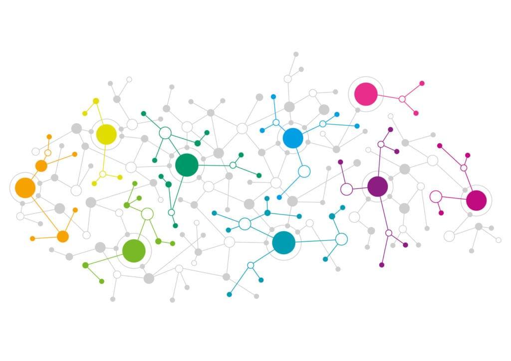 Abstract network design representing GraphQL querying data
