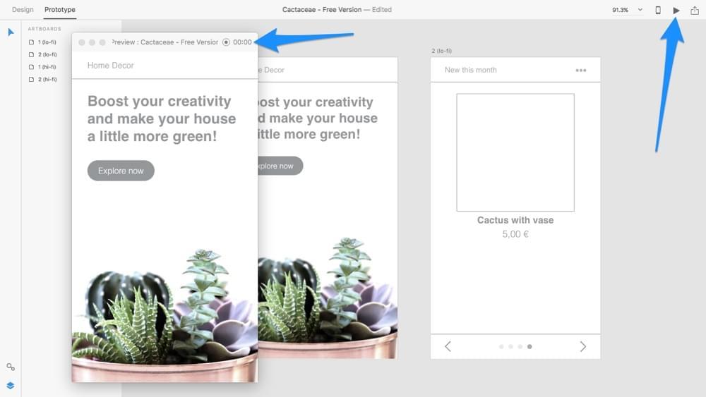Testing designs in Adobe XD Desktop Preview