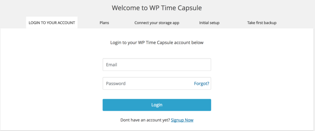 WP Time Capsule Login