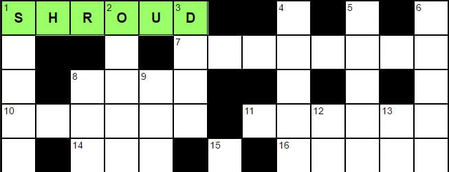 Crossword with completed word