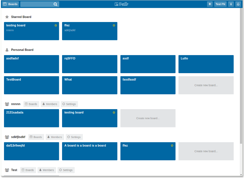 Screenshot of fullstack Trello clone