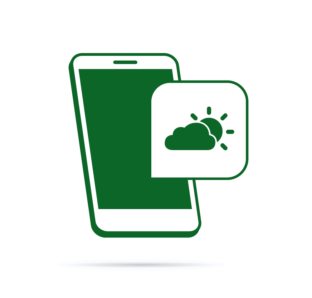 Vector icon of smartphone with weather icon overlay