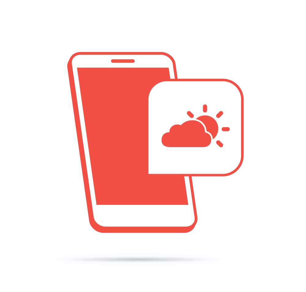Vector icon of phone with weather icon overlaid