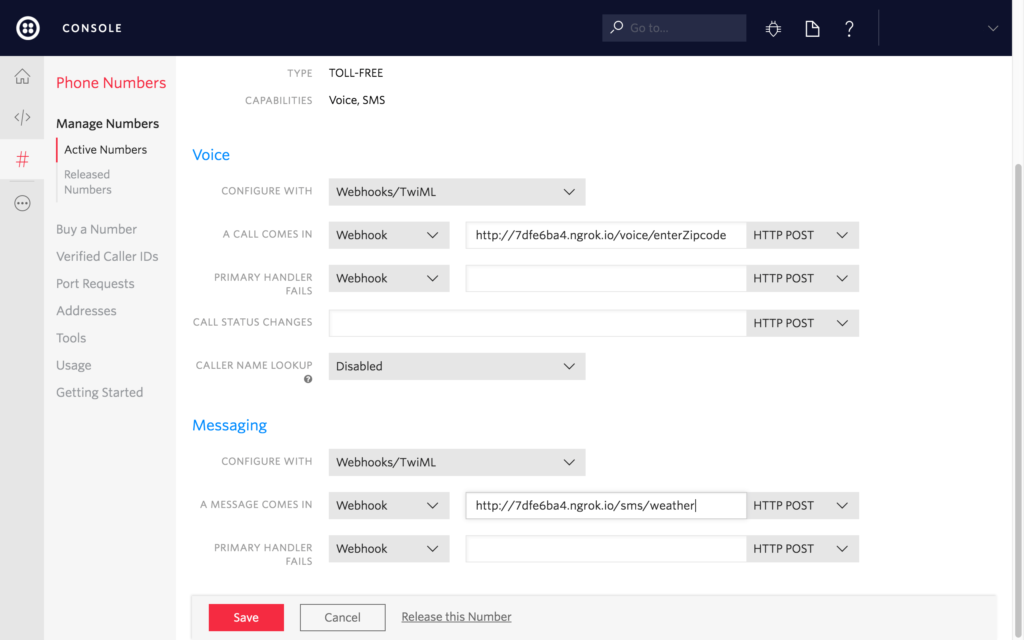 Image of webhook page on Twilio