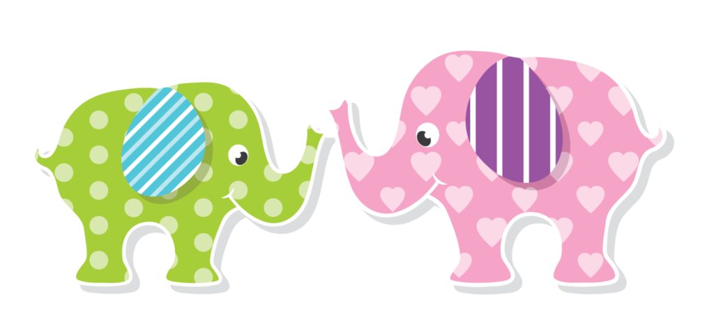 Pink and green elephant symbolizing gender roles