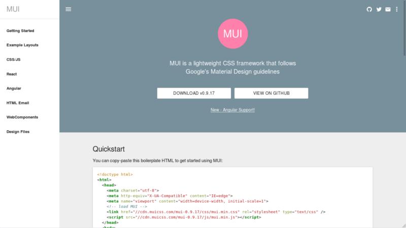 MUI Material Design CSS Framework