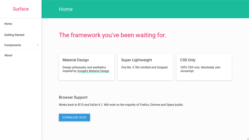 Surface Material Design CSS Framework