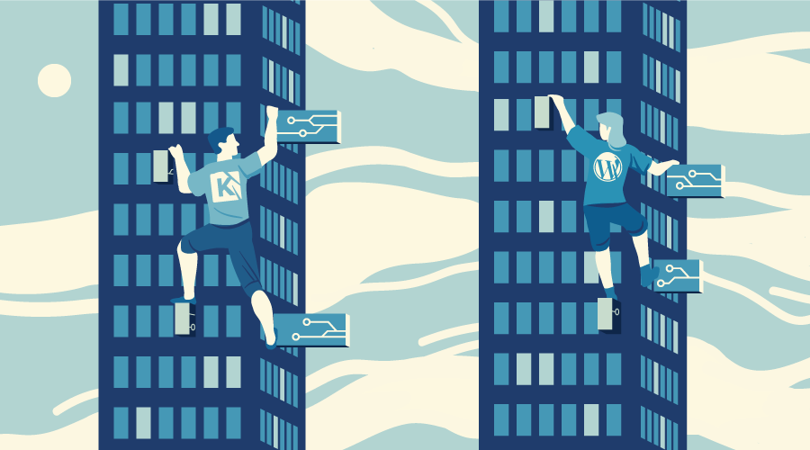KeystoneJS and WordPress as two climbers, scaling database towers