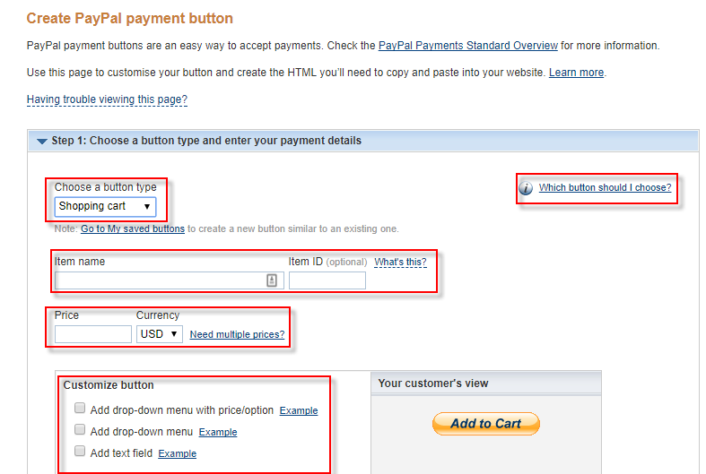 Create PayPal Button