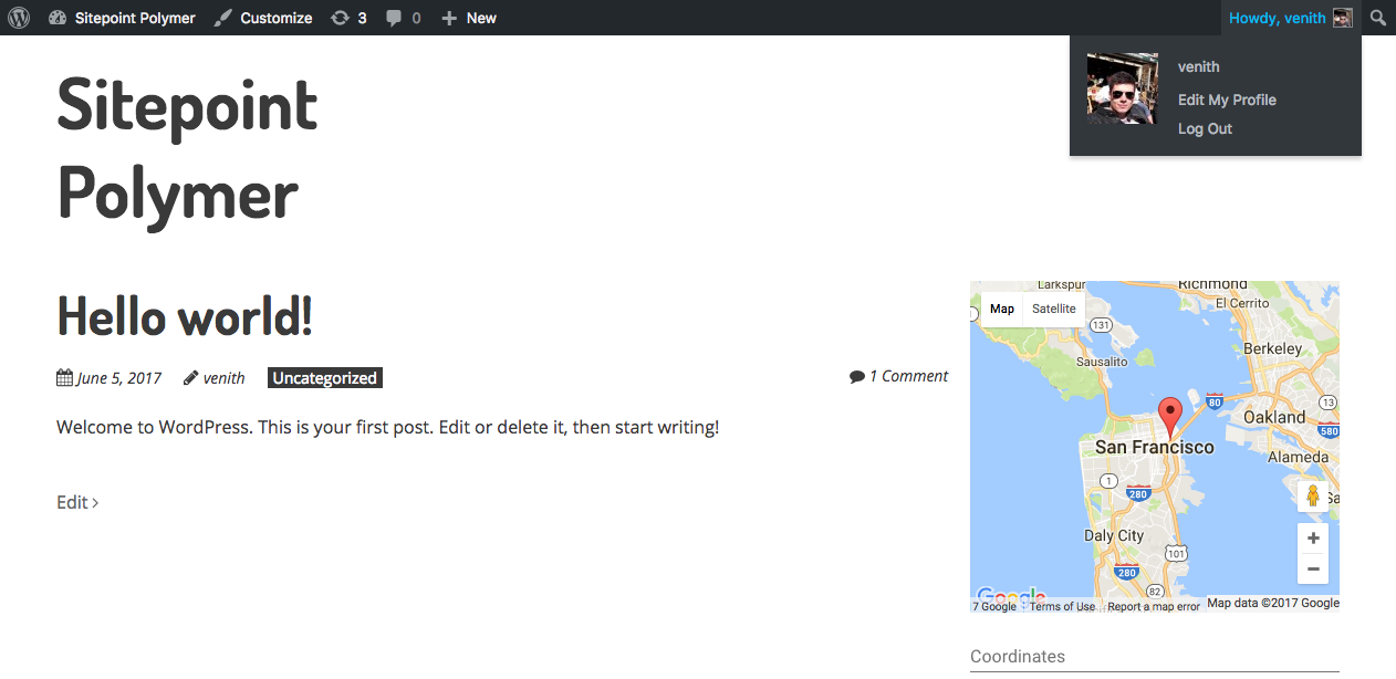 Using Polymer in WordPress: Result Google Map