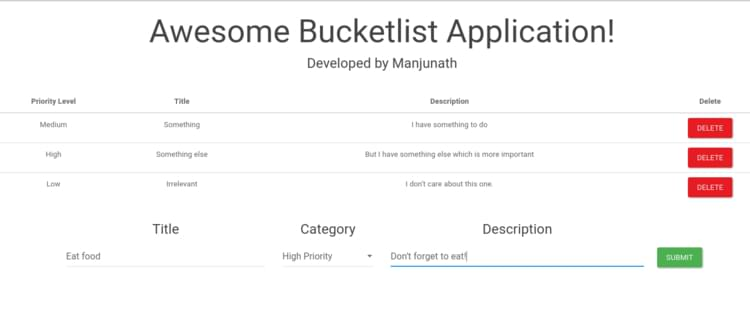 Screenshot of the bucket list application that we are going to build