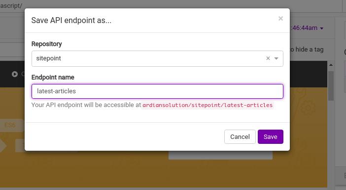 Saving API endpoints