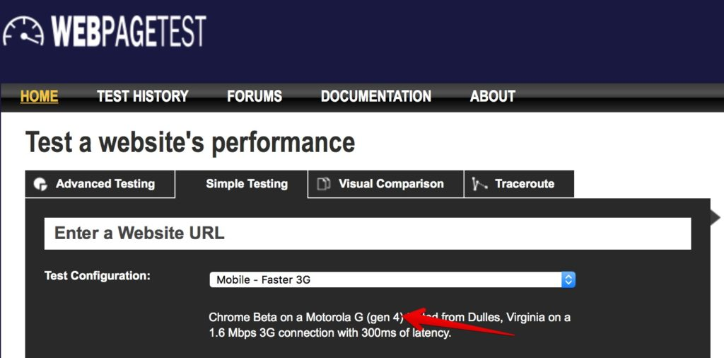WebPageTest screen shot