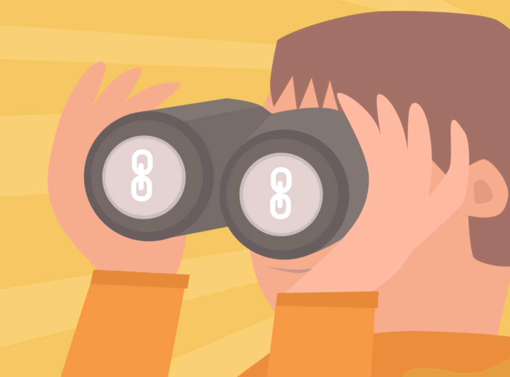 A vector illustration of a person looking through binoculars