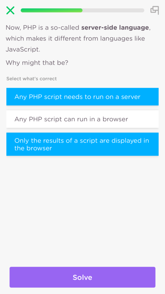 PHP being a server side language, slide explained